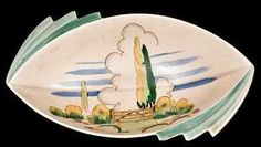 Bowl by Clarice Cliff in the daffodil shape and Stile and Trees pattern.