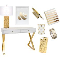 Gold Rush by sugarchicdesign on Polyvore featuring interior, interiors, interior design, home, home decor, interior decorating, Worlds Away, Kate Spade, Faber-Castell and MARC BY MARC JACOBS