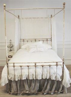 Vintage Canopy Beds c 1920 antique cast iron gold painted full bed frame | full bed