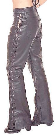 Side Lace Leather Pants for Women