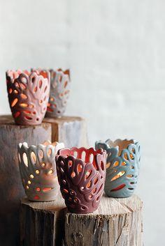 ceramic cutout candleholders