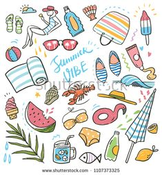 Summer holiday doodle set Premium Vector - New Ideas Doodle Girl, My Doodle, Doodle Drawings, Easy Drawings, Doodles Bonitos, Summer Drawings, Bujo Doodles, Journal Template, Painted Rocks