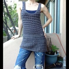 SALE Gypsy Gun Metal Knit Crochet Tunic Tank Dress Excellent Condition. Not wear or rips. No labeling. It is soft. This comes from a smoke free home. No label Tops Tunics