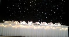 Black Starlight backdrop £150 : Package:Backdrop,Top Table,Cake Table