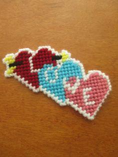 Valentine's Day I Love You Conversation Heart Plastic Canvas PDF Plastic Canvas Letters, Plastic Canvas Stitches, Plastic Canvas Ornaments, Plastic Canvas Tissue Boxes, Plastic Canvas Crafts, Plastic Craft, Canvas Designs, Canvas Patterns, Yarn Crafts