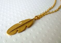 Gold Feather Charm Necklace  everyday jewelry  by lucindascharms, $12.00