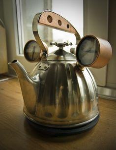 Steam punk teapot  #provestra.  Hey remember those gauges I showed you?  I've got a tea pot too.