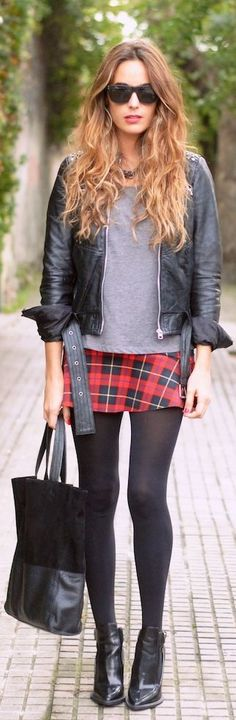 by Stellawantstodie (plaid mini, gray sweater, leather jackets, tights and boots )