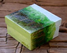 Summer Trees painted 4x4 box by annarobertsart on Etsy, $45.00