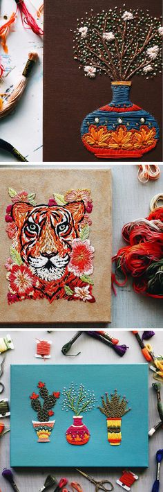 Modern Embroidery by TrueFort | plant embroidery | animal embroidery