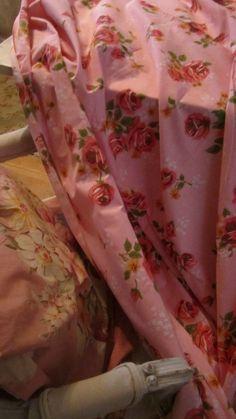 vintage full flat sheet muslin roses shabby by whitecottageinhills, $35.00