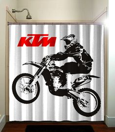 Motocross Dirt Biking KTM Printed Waterproof Polyester Fabric Shower Curtain With Latest Design Our Will Brighten Your
