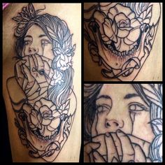 My thigh piece. #tattoo #thigh #girl #neotraditional #skull #tied