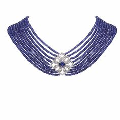 Necklace in Tanzanite beads and centre stone with diamonds and a platinum clasp by Gumuchian