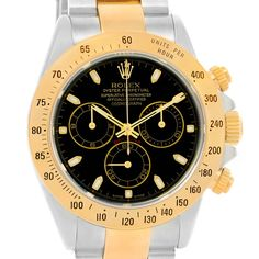 Rolex Cosmograph Daytona Steel 18K Yellow Gold Black Dial Watch 116523