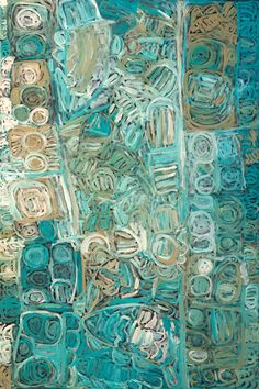 """Sonia Kurarra, Martuwarra, 2013. Mankaja Arts; ReDot Fine Art Gallery, Singapore. """"Martuwarra is my river country; this painting is all about the Fitzroy River which flows down through Noonkanbah where I live. All kinds of fish live in the water, we catch big mob of fish here. I like Parlka (barrumundi). We catch catfish and brim here too. Nganku (shark), Wirritunany (swordfish) and Stingray also live here. These fish live in these waters long after the flood has gone."""""""