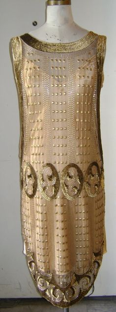 The Nouveau Tabard Gold : Beaded 1920's evening Gown
