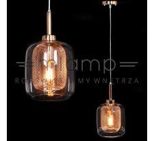Industrialna LAMPA wisząca BESSA LDP 11337B(BR) Lumina Deco szklana OPRAWA zwis loft siatka drut donato miedziany przezroczysty