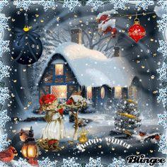 Vintage Christmas Artwork, Christmas Scenes, Christmas Past, Retro Christmas, Vintage Christmas Cards, Vintage Holiday, Country Christmas, Christmas Pictures, Christmas Lights