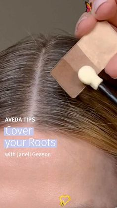 How to cover gray roots at home Want to cover up gray hair without the mess or hassle of hair dye? Aveda Global Artistic Director of Makeup, @jgeason, is here with a few easy steps to show you how to camouflage your grey roots until your next salon appointment using makeup. To start, brush hair and gently pull hair tight in parting. To cover gray roots on blonde hair, apply Aveda Petal Essence Eye Color Trip in 970/Gobi Sands eyeshadow. For dark hair add 997/ Black Tulip. To cover up gray in… How To Apply Eyeliner, How To Apply Makeup, Simple Eyeshadow Tutorial, Eye Color, Hair Color, Dark Hair, Blonde Hair, Red Hair, Beginner Eyeshadow