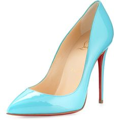 Christian Louboutin Pigalles Follies Patent Red Sole Pump ($715) ❤ liked on Polyvore featuring shoes, pumps, heels, christian louboutin, turquoise, patent leather pumps, low heel shoes, patent pointy toe pump, patent pumps and high heel shoes