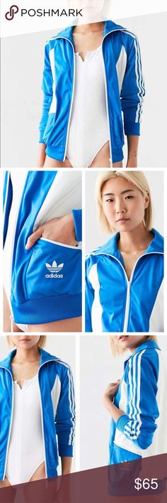 Adidas Originals blue track jacket 1977 Sandra Classic colorblock track jacket from adidas Originals' original 1977 Tennis collection. Soft + silky in a relaxed fit with a zip-up front, banded stretch hem at the bottom + contrast baseball sleeves with 3-stripe appliques. Finished with a pointed zip-up collar, side zip pockets + mini trefoil logo at the hip. Content + Care- Polyester         - Machine wash- BRAND NEW WITH TAGS. size Small Adidas Jackets & Coats