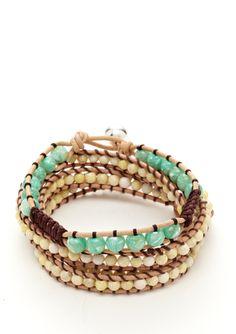 LA ROCKS triple and single wrap bracelet set of two