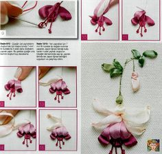 these bleeding heart ribbon embroidered hearts are so pretty!