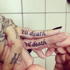 http://tattoo-ideas.us/wp-content/uploads/2013/12/Til-Death.jpg Til Death #Fingertattoos, #Lovetattoos