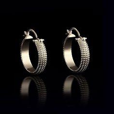 Silver Hoop Earrings, Everyday Earrings, Boho Hoop Earrings , Beaded Hoop Earrings, Unique Hoop Earrings, Ethnic Earrings, Textured Hoops