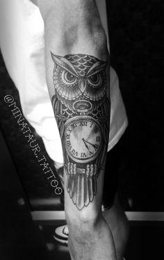 #Tattoo #tattoos #tattooartist #blackandgrey #ink #inked #owltattoo #owl #clocks…