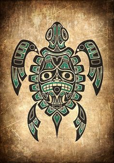'Teal Blue and Black Haida Spirit Sea Turtle' Art Print by jeff bartels Inka Tattoo, Hawaiianisches Tattoo, Tattoo Pics, Haida Tattoo, Totem Tattoo, Kunst Tattoos, Body Art Tattoos, Tribal Tattoos, Taino Tattoos