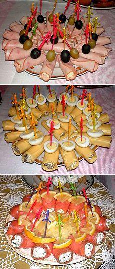 Рецепты закусочных рулетиков из ветчины, сыра, красной рыбы. Teller, Food Humor, Funny Food, Mini Appetizers, Entertaining, Catering, Centerpieces, Mexican, Food And Drink