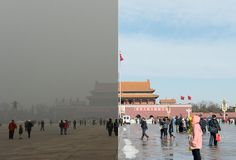 Tiananmen Square in Beijing with and without the recent air pollution that has afflicted the city. O_O Whoa...