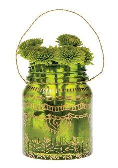 Small Bottle Green Mehndi Mason Jar