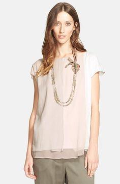 Fabiana Filippi Silk Chiffon Overlay Jersey Top available at #Nordstrom