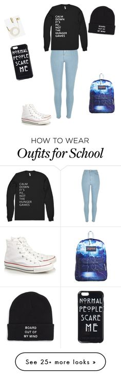 """Ordinary school day"" by naenae1259 on Polyvore featuring Converse, River Island, Vans, JanSport and Skinnydip"
