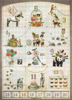123 Poster met Dieren van Kaarjte of Kip. 1 Paard, 2 Vossen etc - Dreumes enZo Kinderwinkel