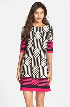 Free shipping and returns on Eliza J Print Jersey Shift Dress (Regular & Petite) at Nordstrom.com. A jolt of vivid pink color and a bold geometric print recharge a jewel-neck shift dress with comfortable stretch.