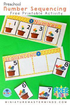 Preschool Springtime Number Sequencing Free Printable Activity