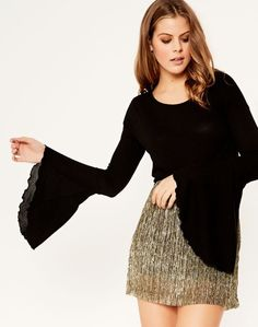 Flare-Frill Sleeve Top Black