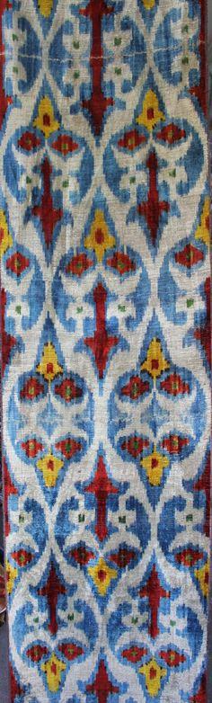 Fast shipment with fedex. Yuner / Silk Velvet, uzbek ikat fabric, 3 yard