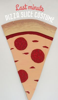 Last minute kids or adults pizza slice costume for #Halloween, all you need is cardboard and paint! Click through for full tutorial / Polkadot Stationery