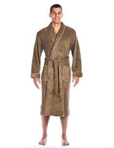 e23cc0c86e Noble Mount Men s Premium Coral Fleece Plush Spa Bath Robe - Capuccino -  Small