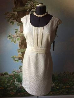 Tahari Arthur S. Levine Womens Ivory Sheath Dress SZ 10 NWT #Tahari #Sheath #Cocktail