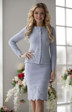 """Elegant two-piece suit """"Heavenly angel"""", pencil skirt and jacket, lace on the skirt and sleeves is crocheted in filet technique Beautiful Dresses, Nice Dresses, Suits For Women, Clothes For Women, Classic Outfits, Classic Clothes, Women's Summer Fashion, Women's Fashion, Knit Skirt"""