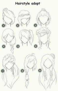Tipos de peinados | Hair Styles Drawing, Hair Drawings, Hair Style Sketches, Anime Hair Drawing, How To Draw Anime Hair, Hair Styles Anime, Anime Character Drawing, Girl Drawing Sketches, Girl Hair Drawing