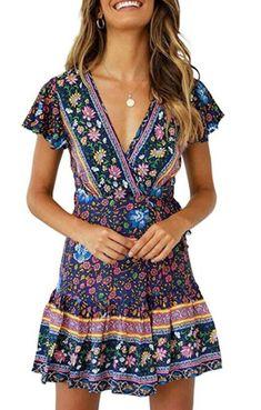 Women's Summer Wrap V Neck Bohemian Floral Print Ruffle Swing A Line Beach Mini Dress - Navy Medium Short Sundress, Very Short Dress, Floral Beach Dresses, Summer Dresses, Floral Sundress, Dress Beach, Boho Dress, Bohemian Dresses, Man Fashion