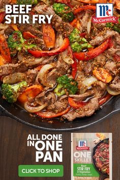 Whip up a quick beef stir-fry for the family tonight. The flavors of sesame, orange and ginger in McCormick® ONE Seasoning Mix bring Asian-inspired flavor to veggies and meat in under 30 minutes! beef stir fry Beef Stir Fry and Vegetables Casserole Recipes, Meat Recipes, Asian Recipes, Mexican Food Recipes, Dinner Recipes, Cooking Recipes, Healthy Recipes, Recipies, Skillet Recipes