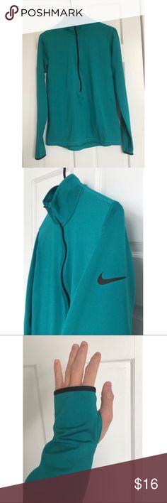 Nike Pro Dri-Fit Green/Teal Active Wear Sweatshirt This BRAND NEW Nike Pro Dri-Fit Green/Teal Active Wear Sweatshirt is great for working out in the cold. It is a pullover, half- zip sweatshirt & feels very insulated even though the fabric is not very thick. There are thumb holes in each sleeve. The Dri-Fit technology helps to soak up sweat & keep you dry. This sweatshirt was never worn & it is in great condition overall; the only flaw is that there is a tiny makeup stain on the right…